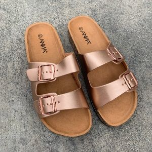 Anna Rose Gold Double Strap Birk Like Sandals